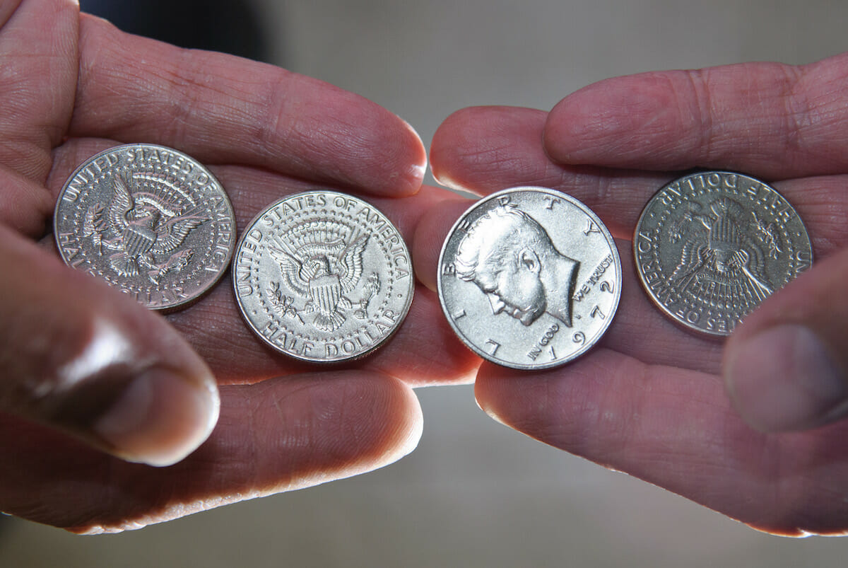 clean coins sparkling in light