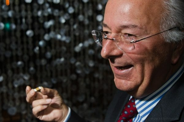 Federico Faggin, father of Intel's 4004, shows the world's first microprocessor at an event in San Francisco