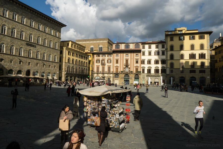 Piazza della Signorina in Florence, Italy, on a dramatically cloudy day