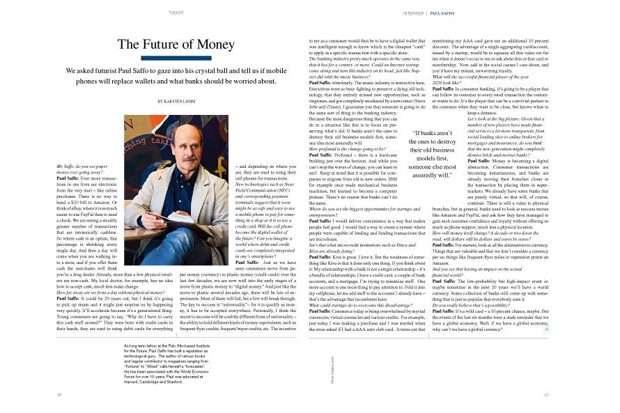 Earlybird Magazine Q&A with futurist Paul Saffo