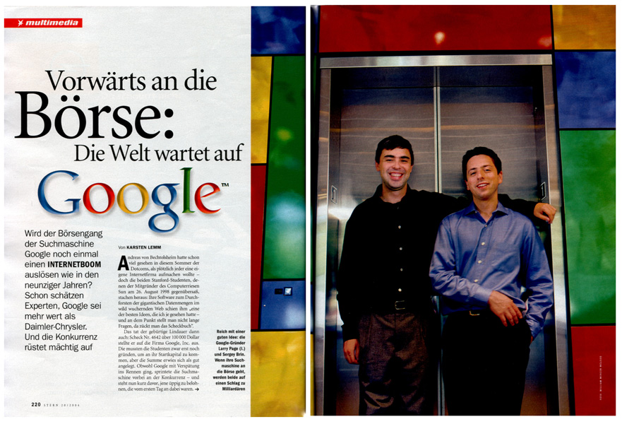 Google IPO in 2004, opening spread of Stern magazine article. Photo: William Mercer McLeod