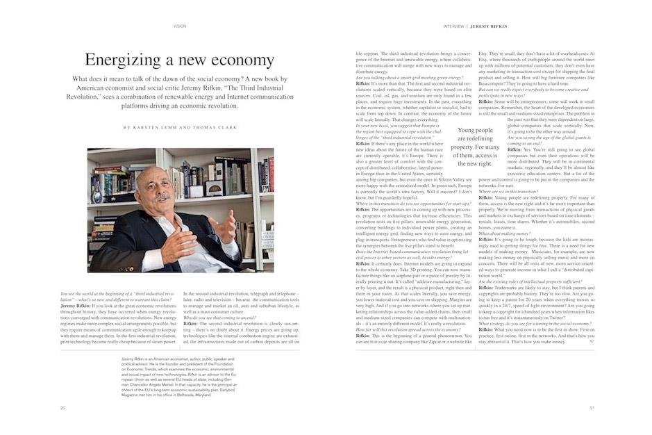 Jeremy Rifkin Q&A Earlybird-Magazine-2012-01