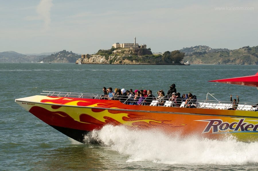 Rocketboat races past Alcatraz on San Francisco Bay