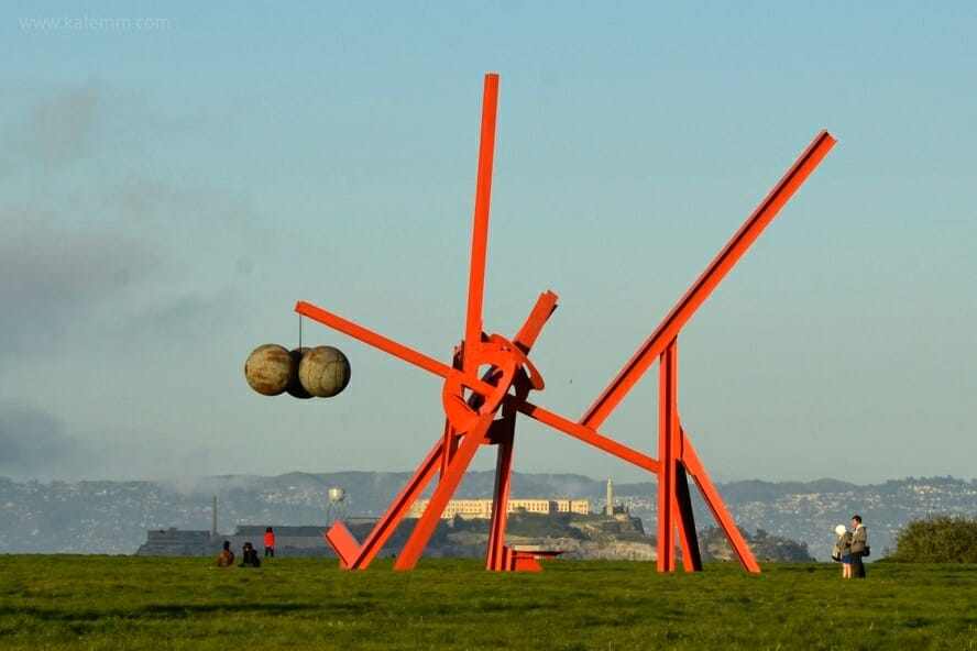 Crissy Field sculpture with Alcatraz