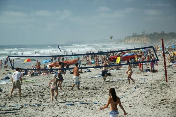 Beach volleyball players in California near San Diego
