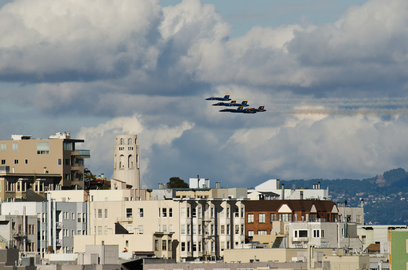 US Navy Blue Angels scenic over Coit Tower, San Francisco