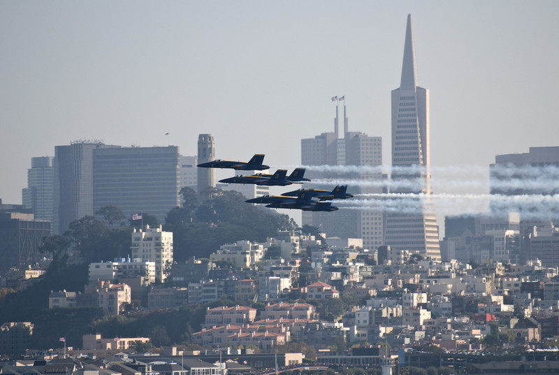 San Francisco skyline with US Navy Blue Angels fighter jets