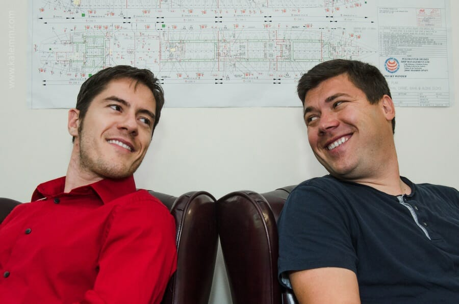 Silicon Valley, entrepreneurship, Blueseed project: Dario Mutabdzija, Dan Dascalescu in their office