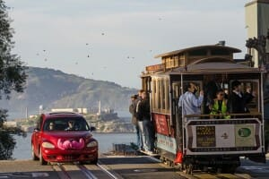 Ridesharing: Lyft car next to Cable Car in San Francisco