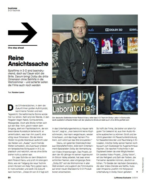 Dolby-Manager Roland Vlaicu / Dolby Labor Sunnyvale