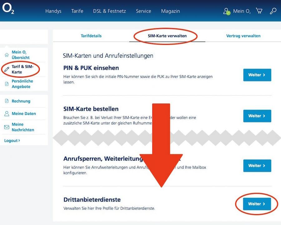Drittanbieter-Verwaltung-O2