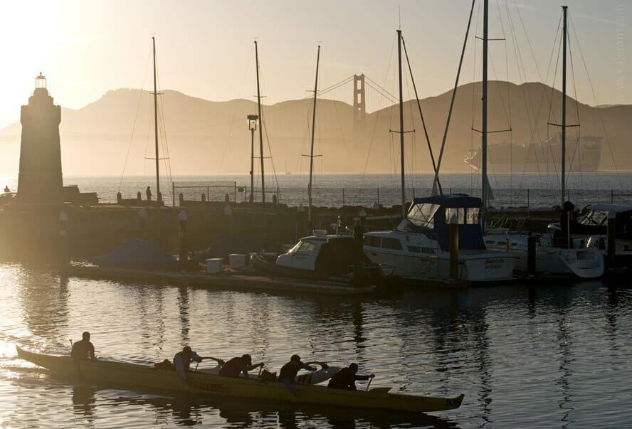 Kayak in San Francisco Marina with Golden Gate Bridge in background