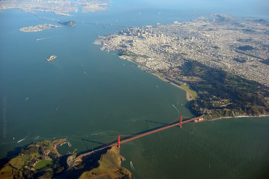 Aerial photo of San Francisco Bay and Golden Gate Bridge