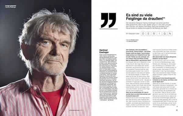 designer Hartmut Esslinger interview Lufthansa magazine Q&A