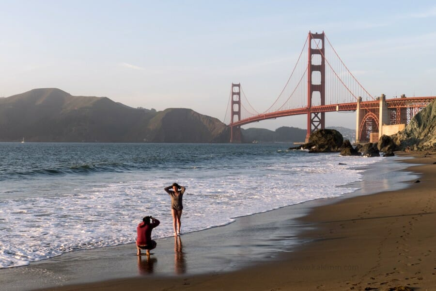 Photo shoot at Marshall's Beach in front of the Golden Gate