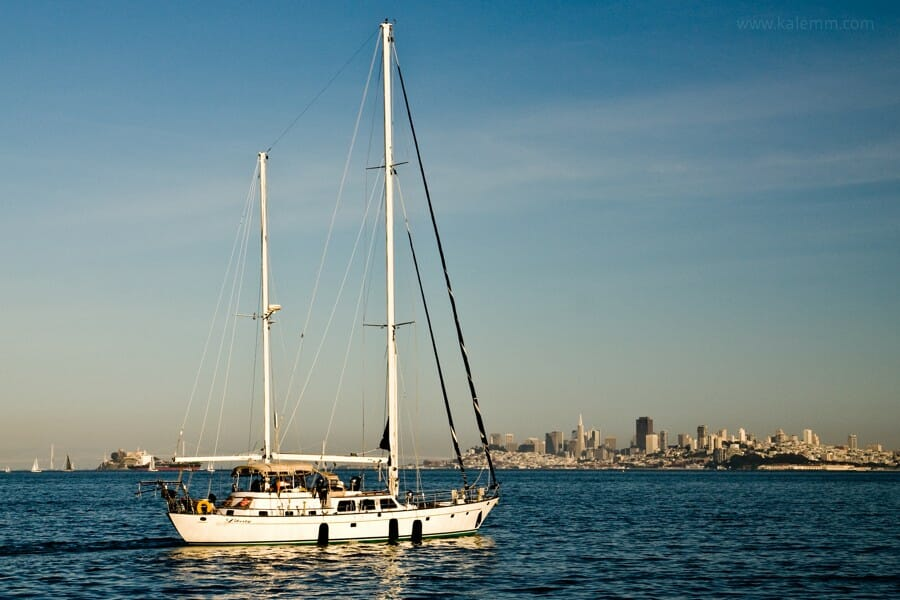 Sailboat on San Francisco Bay, leaving Sausalito