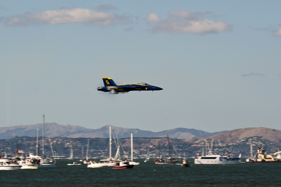 Blue Angels jet low over San Francisco Bay